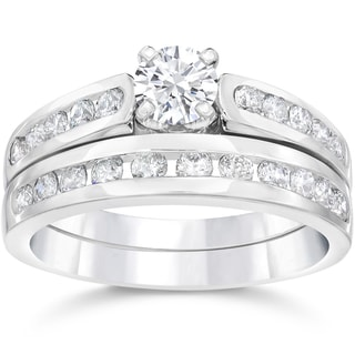 14k White Gold 1 3/8ct TDW Diamond Engagement Wedding Ring Set