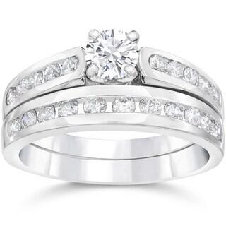 14k White Gold 1 3/8ct TDW Diamond Engagement Wedding Ring Set