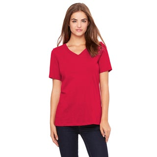 Women's Red Cotton Short Sleeve T-shirt