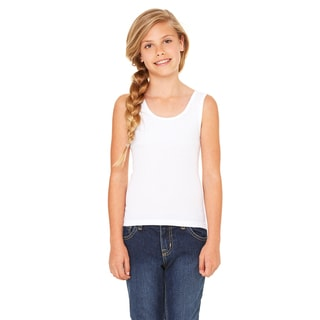 Stretch Girl's White Rib Tank Top