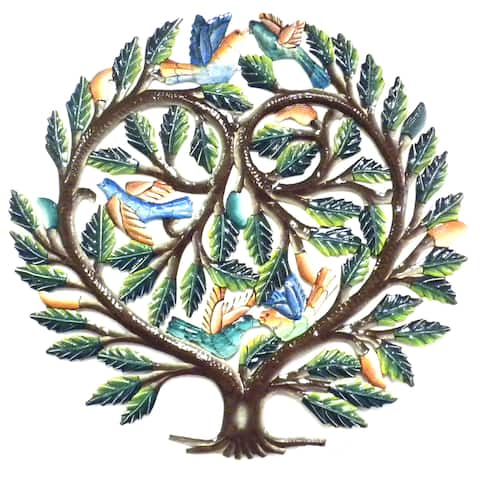 Handmade 24-inch Painted Tree of Life Heart Metal Wall Art (Haiti)