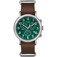 Timex Men's  Weekender Chrono Oversized Brown Leather Slip-Thru Strap Watch
