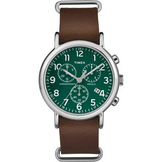 Timex Men's TW2P974009J Weekender Chrono Oversized Brown Leather Slip-Thru Strap Watch