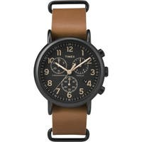 Timex Men's Weekender Chrono Oversized Tan Leather Slip-Thru Strap Watch