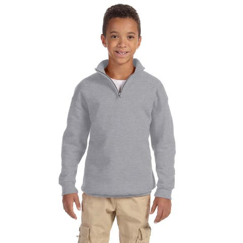Boys' Oxford Grey 50/50 Cotton/Polyester Nublend Quarter-zip Cadet Collar Sweatshirt
