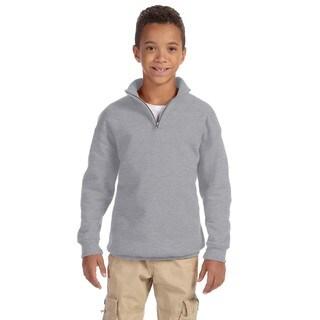 Boys' Oxford Grey 50/50 Cotton/Polyester Nublend Quarter-zip Cadet Collar Sweatshirt