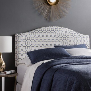 Humble + Haute Parker Queen Size Navy Embroidered Arched Upholstered Headboard