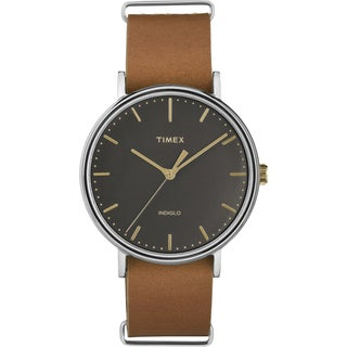 Timex Unisex Fairfield Black Brass Watch with Leather Slip-thru Strap