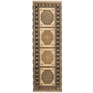 Herat Oriental Indo Hand-knotted Kazak Wool Runner (2'1 x 6'5)