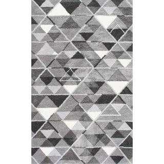 nuLOOM Handmade Triangle Trellis Grey Rug (7'6 x 9'6)