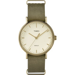 Timex TW2P985009J Weekender Fairfield 37 Olive/White Leather/Stainless Steel Slip-thru Strap Unisex Watch