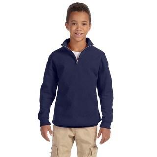 Nublend Youth 50/50 Quarter-zip Navy Cadet Collar Sweatshirt