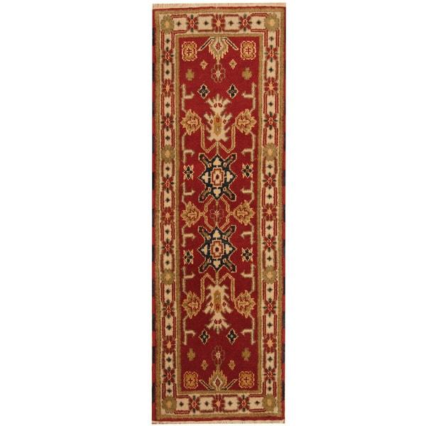 Handmade Herat Oriental Indo Kazak Wool Runner (India) - 2'1 x 6'7