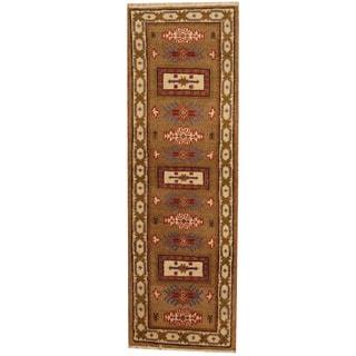 Herat Oriental Indo Hand-knotted Kazak Wool Runner (2' x 6'5)