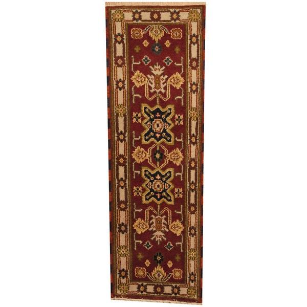 Herat Oriental Indo Hand-knotted Kazak Wool Runner - 2'1 x 6'8