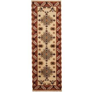 Herat Oriental Indo Hand-knotted Kazak Wool Runner (2'3 x 6'8)