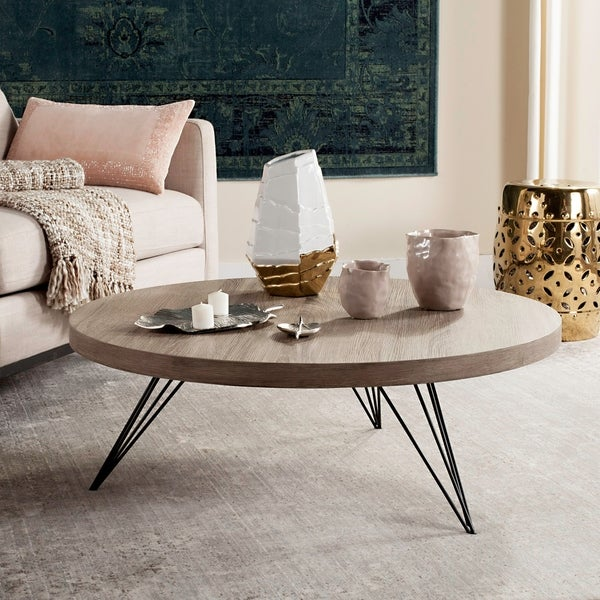 "Safavieh Mansel Light Grey / Black Coffee Table - 35.4"" x 35.4"" x 12.6"""
