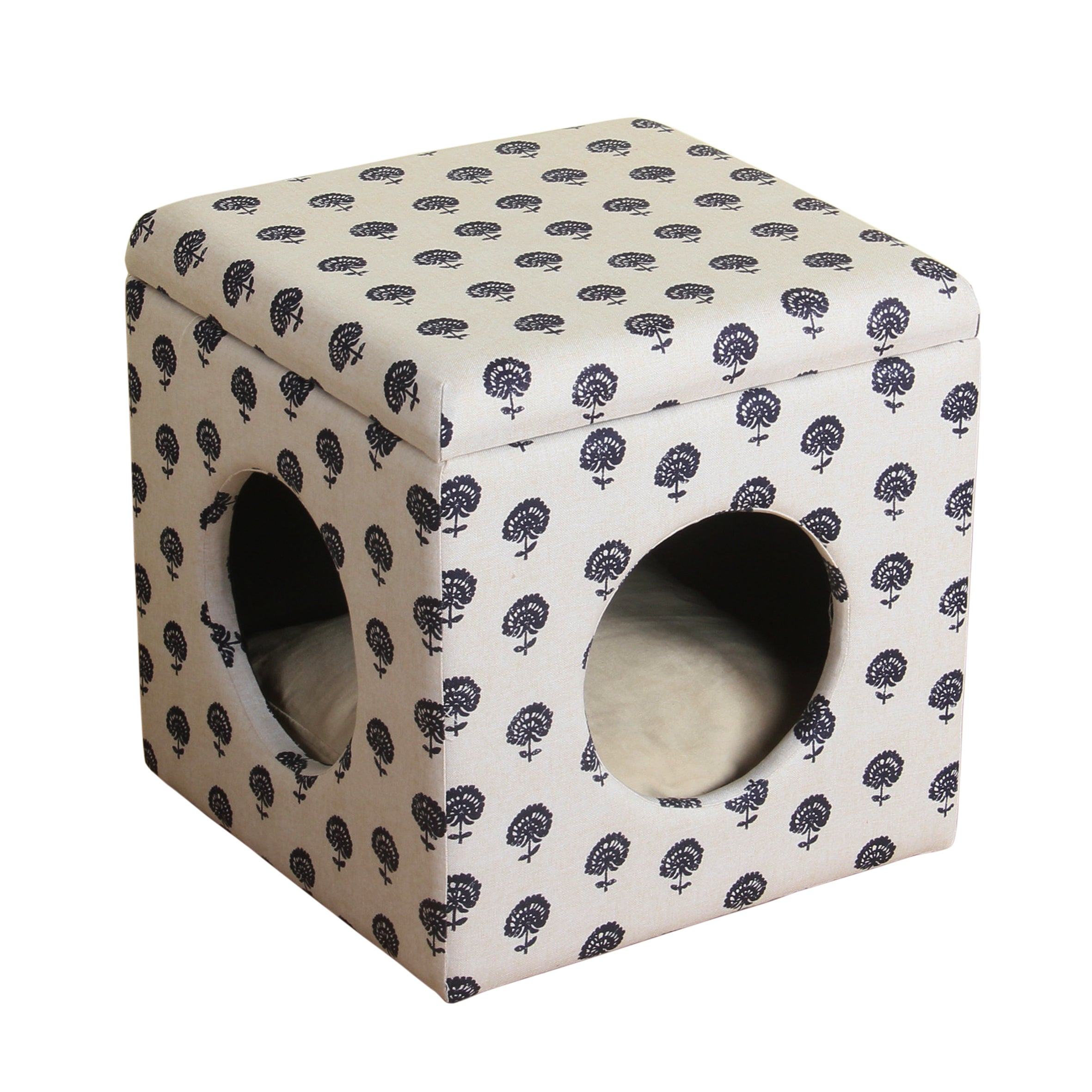 HomePop Hideaway Ottoman Dog/ Cat Bed (Indigo/Natural), M...