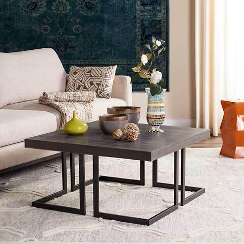 """SAFAVIEH Mid-Century Modern Amalya Dark Grey / Black Coffee Table - 31.5"""" x 31.5"""" x 15.8"""""""