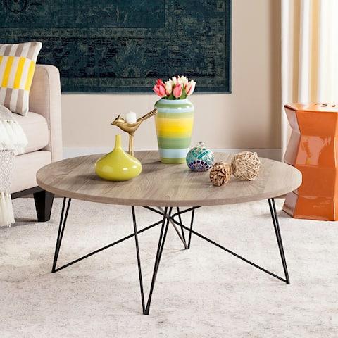 "Safavieh Mid-Century Modern Maris Light Grey/Black Coffee Table - 33.5"" x 33.5"" x 14"""