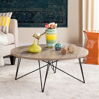 "Link to Safavieh Mid-Century Modern Maris Light Grey/Black Coffee Table - 33.5"" x 33.5"" x 14"" Similar Items in Living Room Furniture"