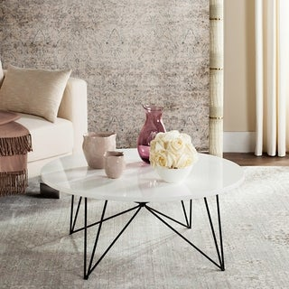 "Safavieh Mid-Century Modern Maris Lacquer White / Black Coffee Table - 33.5"" x 33.5"" x 14"""