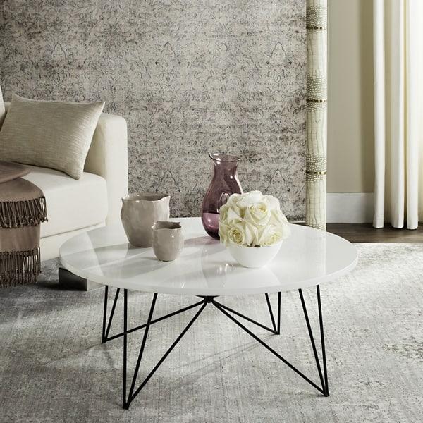 Terrific Shop Safavieh Mid Century Modern Maris Lacquer White Black Inzonedesignstudio Interior Chair Design Inzonedesignstudiocom