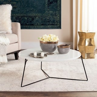 Safavieh Mae Lacquer White / Black Coffee Table