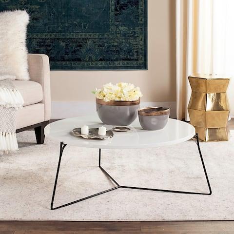"SAFAVIEH Mae Lacquer White / Black Coffee Table - 31"" x 31"" x 13.4"""