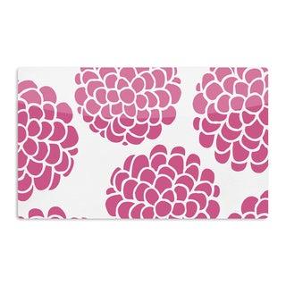 KESS InHouse Pom Graphic Design 'Raspberry Blossoms' Teal Circles Artistic Aluminum Magnet