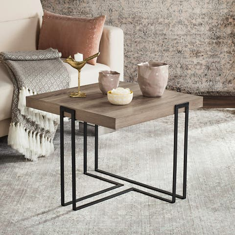"Safavieh Mid-Century Modern Pitt Light Grey / Black End Table - 21.6"" x 21.6"" x 17.8"""