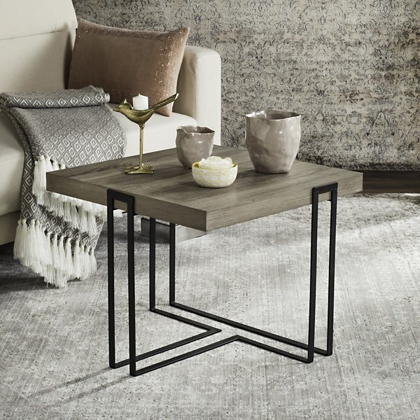 Safavieh Mid Century Modern Pitt Light Grey / Black End Table