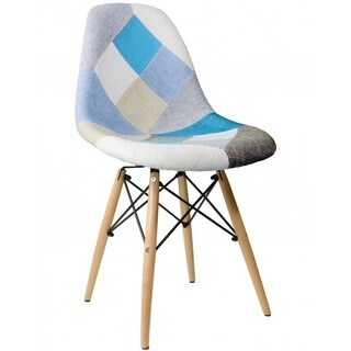 Eames Retro Woven Patchwork Dining Chair with Eiffel Legs