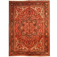 Handmade Herat Oriental Persian 1960s Semi-antique Tribal Heriz Wool Rug  - 7'10 x 10'6 (Iran)