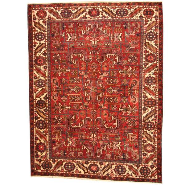 Vintage Persian Heriz Design Wool Area Rug: Shop Handmade Herat Oriental Persian 1940s Semi-antique