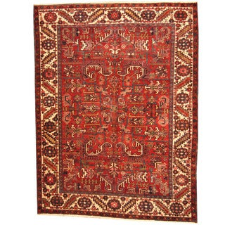 Herat Oriental Persian Hand-knotted 1940s Semi-antique Tribal Heriz Wool Rug (7'6 x 10')
