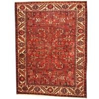 Handmade Herat Oriental Persian 1940s Semi-antique Tribal Heriz Wool Rug  - 7'6 x 10' (Iran)