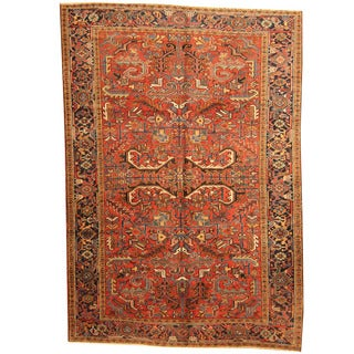 Herat Oriental Persian Hand-knotted 1920s Semi-antique Tribal Heriz Wool Rug (6'10 x 10')