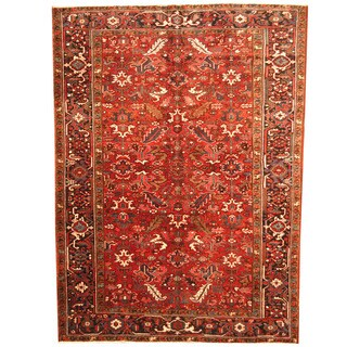 Herat Oriental Persian Hand-knotted 1940s Semi-antique Tribal Heriz Wool Rug (7'5 x 10'2)