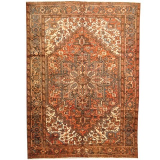 Herat Oriental Persian Hand-knotted 1940s Semi-antique Tribal Heriz Wool Rug (7'4 x 10')