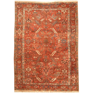 Herat Oriental Persian Hand-knotted 1920s Semi-antique Tribal Heriz Wool Rug (7'5 x 10'2)