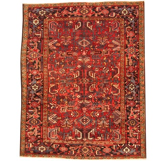 Herat Oriental Persian Hand-knotted 1920s Semi-antique Tribal Heriz Wool Rug (7' x 8'9)