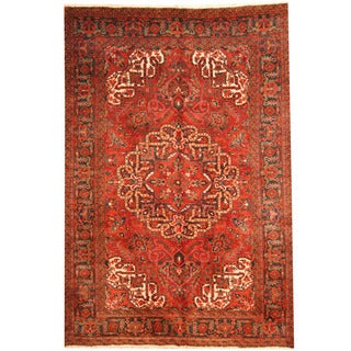 Herat Oriental Persian Hand-knotted 1940s Semi-antique Tribal Heriz Wool Rug (7'7 x 11'4)