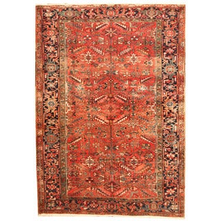 Herat Oriental Persian Hand-knotted 1920s Semi-antique Tribal Heriz Wool Rug (7' x 10')