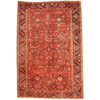 Herat Oriental Persian Hand-knotted 1920s Semi-antique Tribal Heriz Wool Rug (7'6 x 11') - 7'6 x 11'