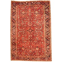 Handmade Herat Oriental Persian 1920s Semi-antique Tribal Heriz Wool Rug  - 7'6 x 11' (Iran)