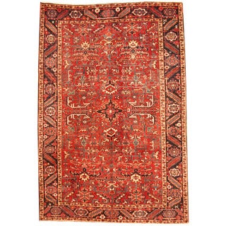 Herat Oriental Persian Hand-knotted 1920s Semi-antique Tribal Heriz Wool Rug (7'6 x 11')