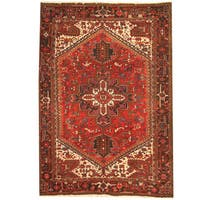 Herat Oriental Persian Hand-knotted 1970s Semi-antique Tribal Heriz Wool Rug - 8' x 11'4