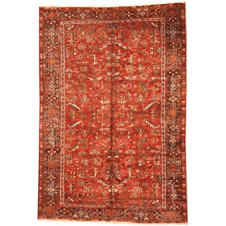 Herat Oriental Persian Hand-knotted 1920s Semi-antique Tribal Heriz Wool Rug (7'1 x 10'4)
