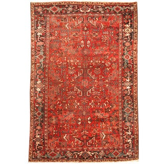 Herat Oriental Persian Hand-knotted 1920s Semi-antique Tribal Heriz Wool Rug (7'2 x 10'6)